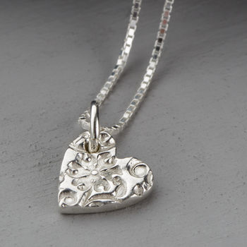 Personalised Silver Floral Hearts Necklace