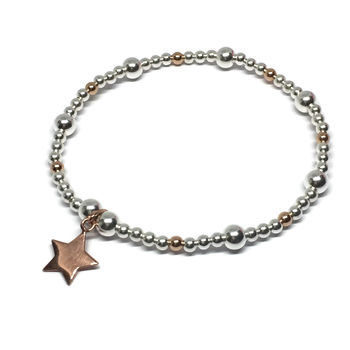 Silver And Rose Gold Shining Star Bracelet