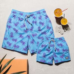 Father And Son Blue Pineapple Swimming Trunks - gifts for him