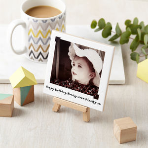Personalised Birthday Message Photo And Mini Easel