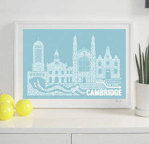 Cambridge Skyline Typography Print Personalised
