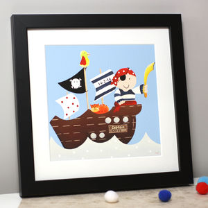 Personalised Captain Pirate Ship Art Print - children's room