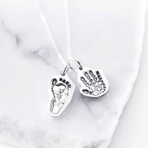 Silver Sculpted Hand Or Foot Print Charm Pendant