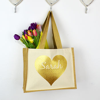 Personalised Gold Heart 'Name' Bag