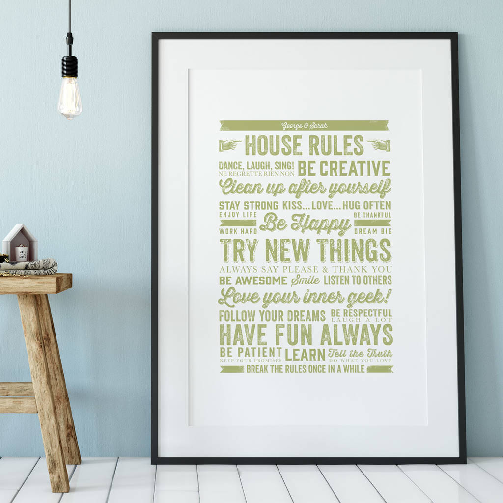 House Rules Art Print Sage