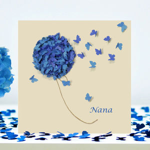 Nana Blue Hydrangea Butterfly Card - shop by category