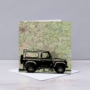 Landrover Silhouette Over Antique Map