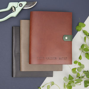 Personalised Leather Garden Planning Notebook - writing
