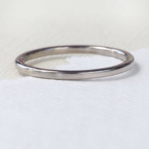Plain Stacking Ring, 18ct White Gold