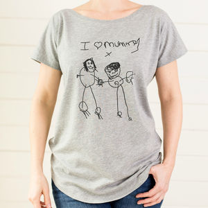 Personalised Mums T Shirt With Child's Drawing - gifts from younger children
