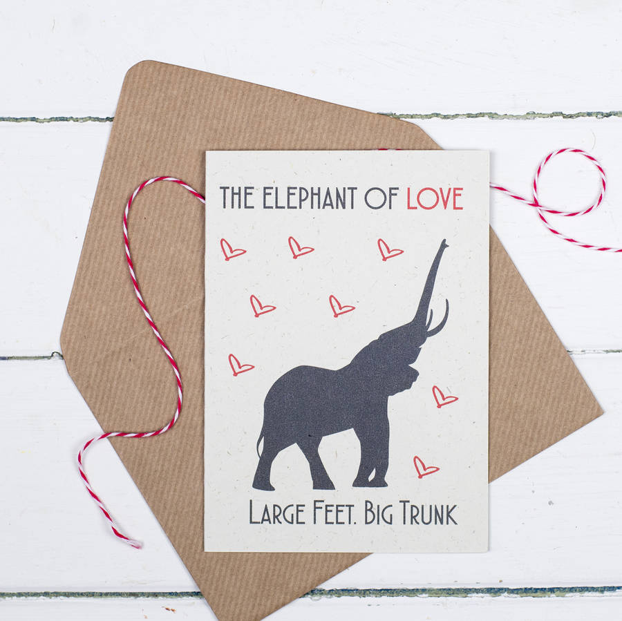 funny anniversary card elephant of love by talk of the town – Elephant Valentines Card