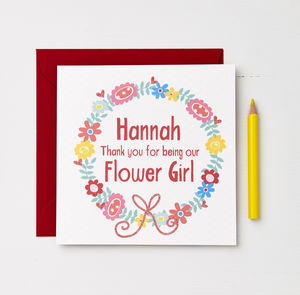 Girls Personalised Flower Girl Card