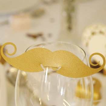 Pack Of 10 Pearlescent Moustache Glass Name Place Cards