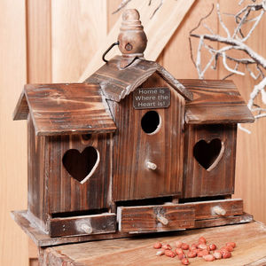 Personalised Heart Wooden Bird House And Feeder - gifts for couples