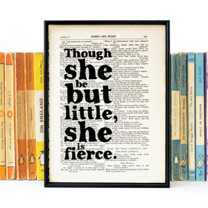 'Little But Fierce' Literary Quote Gift For Her Print - book-lover