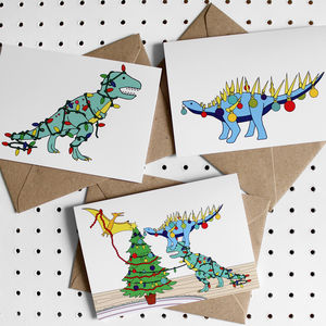 Deck The Dinos Dinosaur Christmas Greeting Card Pack - cards