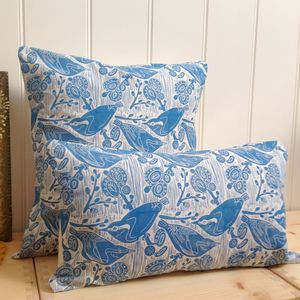 Nuthatches And Willow Cotton Cushions