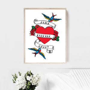 Sailor Jerry Tattoo Style Anniversary Print - 1st anniversary: paper