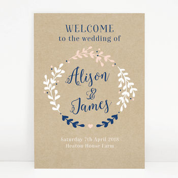 Hannah Wreath Wedding Welcome Sign