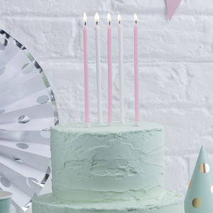 Pink And White Glitter Tall Birthday Cake Candles - home accessories