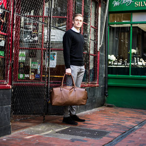 Personalised Weekend Holdall In Black Or Brown - gifts for fathers