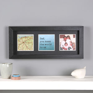Personalised Map Photo Message Frame For Him, Black