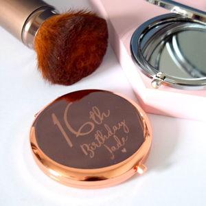 Engraved Birthday Compact Mirror - compact mirrors