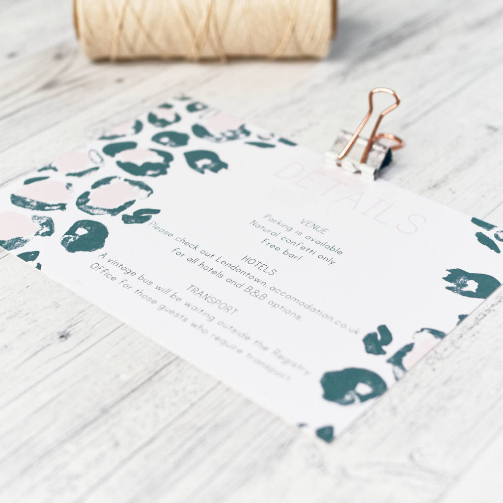 leopard print wedding invitation by happy paper | notonthehighstreet.com