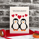 'Valentine Penguins' Personalised Valentines Card