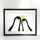 Penguin Couple 'Selfie' Personalised A3 Print