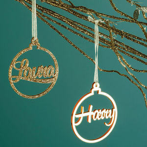 Metallic Bauble Personalised Christmas Decoration - tree decorations