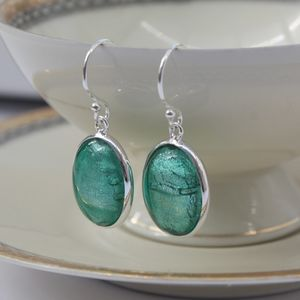 Murano Glass and Silver Oval Earrings - winter sale
