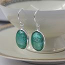 Murano Glass and Silver Oval Earrings - Sea Green silver earrings