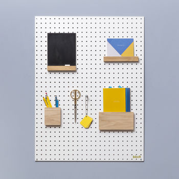 White Pegboard With Wooden Pegs, Large