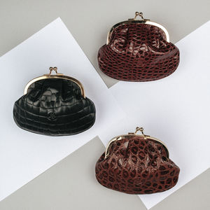 Personalised Leather Coin Purse 'The Sabina Croco'