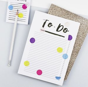 Hand Lettered Confetti 'To Do' List Notepad