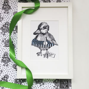 Personalised Blue Duckling Art Print - drawings & illustrations