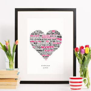 'Mother Love' Illustrated Scottish Heart Print - whatsnew