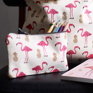 Flamingo And Pineapple Pencil Case