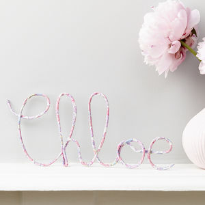 Personalised Sign Liberty Betsy Pink Fabric And Wire - children's room