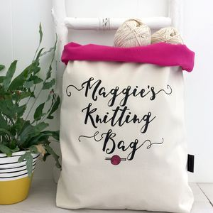 Personalised Large Knitting Bag - sewing & knitting