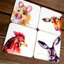 Set Of Four Inky Animal Coasters