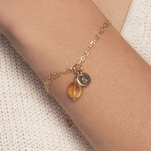 Gold Initial Bracelet Gemstone Choice