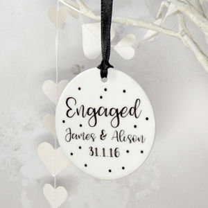 Personalised Ceramic Engaged Spotty Hanging Keepsake