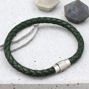 British Racing Green Personalised Men's Bracelet