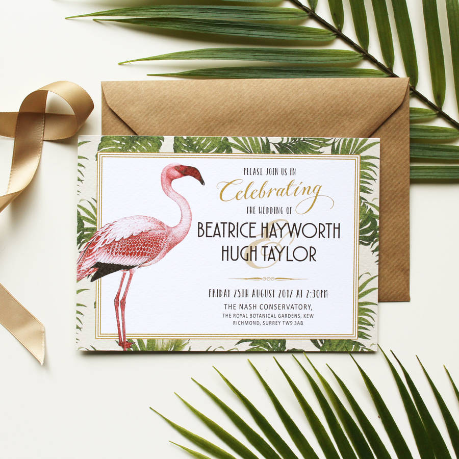 art deco flamingo wedding invitation by vanilla retro stationery. Black Bedroom Furniture Sets. Home Design Ideas