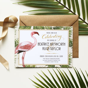 Art Deco Flamingo Wedding Invitation