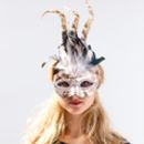Gold Feather And Sequin Mask