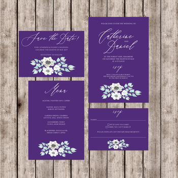 Ultra Violet Anemone Wedding Invitation Set