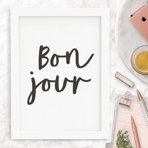 'Bonjour' Typography Print - shop by subject